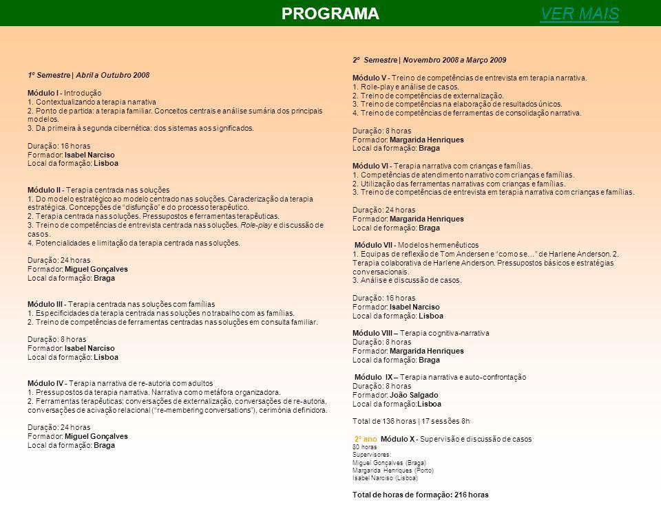 PROGRAMAVER MAIS 1º Semestre | Abril a Outubro 2008 Módulo I - Introdução 1. Contextualizando a terapia narrativa 2. Ponto de partida: a terapia famil