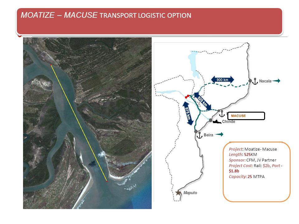 MOATIZE – MACUSE TRANSPORT LOGISTIC OPTION Project: Moatize- Macuse Length: 525KM Sponsor: CFM, JV Partner Project Cost: Rail: $2b, Port - $1.8b Capac