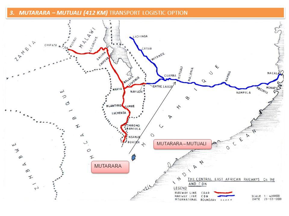 3. MUTARARA – MUTUALI (412 KM) TRANSPORT LOGISTIC OPTION Project: Mutarara – Mutuali Length: 420 KM (Greenfield) Sponsors: CFM, Private Sector Project