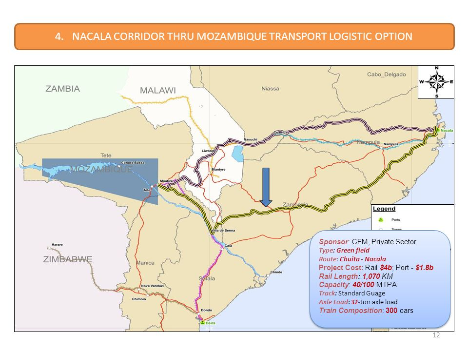 12 4. NACALA CORRIDOR THRU MOZAMBIQUE TRANSPORT LOGISTIC OPTION Sponsor: CFM, Private Sector Type: Green field Route: Chuita - Nacala Project Cost: Ra