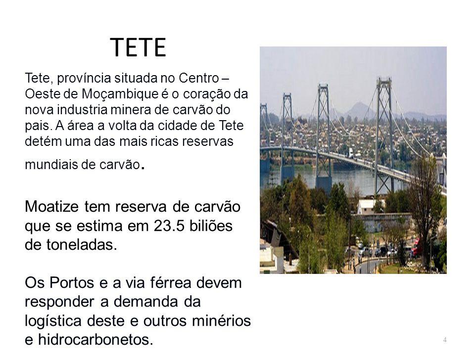TETE 4 Tete, província situada no Centro – Oeste de Moçambique é o coração da nova industria minera de carvão do pais. A área a volta da cidade de Tet