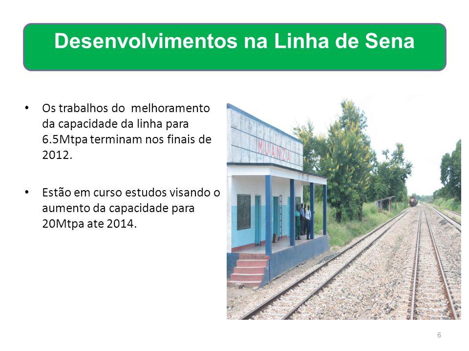 Os trabalhos do melhoramento da capacidade da linha para 6.5Mtpa terminam nos finais de 2012. Estão em curso estudos visando o aumento da capacidade p