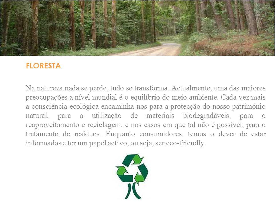 FLORESTA Na natureza nada se perde, tudo se transforma. Actualmente, uma das maiores preocupações a nível mundial é o equilíbrio do meio ambiente. Cad