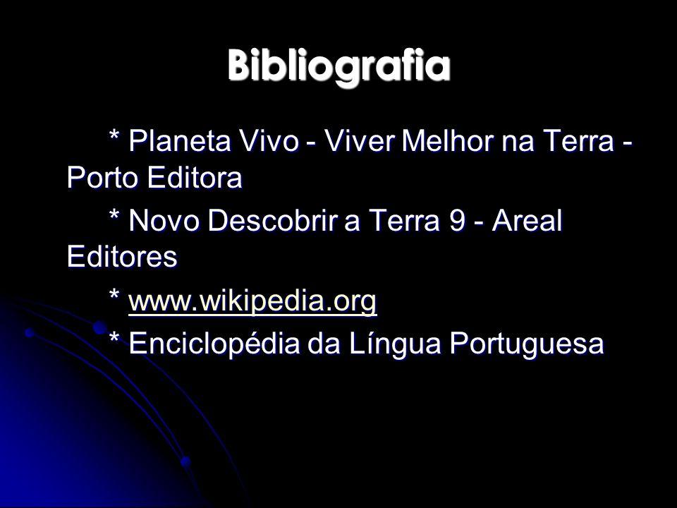 * Planeta Vivo - Viver Melhor na Terra - Porto Editora * Novo Descobrir a Terra 9 - Areal Editores * www.wikipedia.org www.wikipedia.org * Enciclopédi
