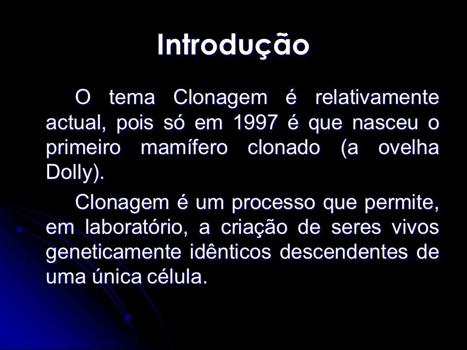 Introdução O tema Clonagem é relativamente actual, pois só em 1997 é que nasceu o primeiro mamífero clonado (a ovelha Dolly). Clonagem é um processo q