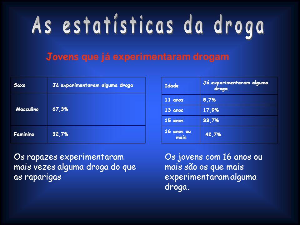 Sexo Já experimentaram alguma droga Masculino 67,3% Feminino 32,7% Idade Já experimentaram alguma droga 11 anos5,7% 13 anos17,9% 15 anos33,7% 16 anos