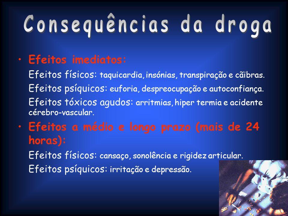 Efeitos imediatos: Efeitos físicos: taquicardia, insónias, transpiração e cãibras. Efeitos psíquicos: euforia, despreocupação e autoconfiança. Efeitos