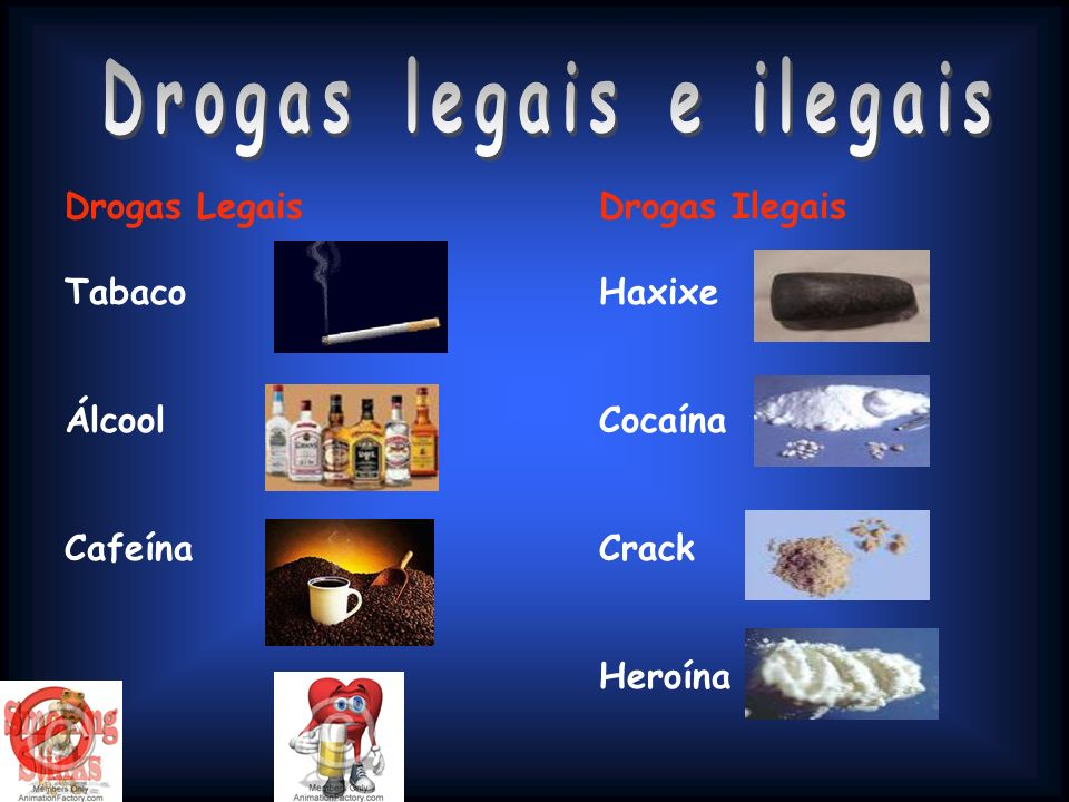 Drogas LegaisDrogas Ilegais TabacoHaxixe ÁlcoolCocaína CafeínaCrack Heroína