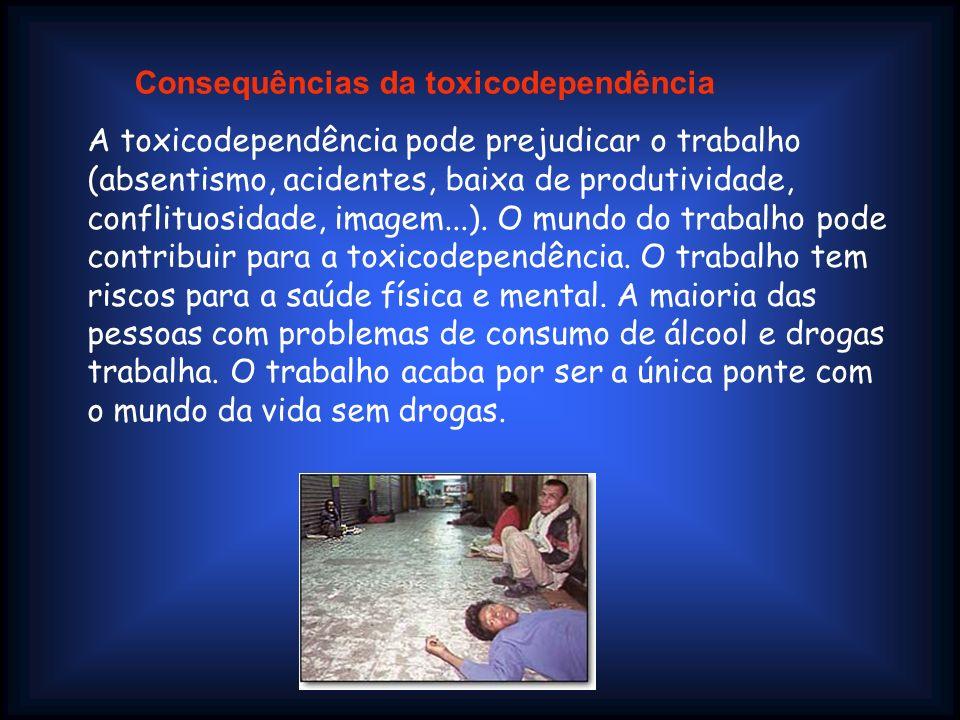 A toxicodependência pode prejudicar o trabalho (absentismo, acidentes, baixa de produtividade, conflituosidade, imagem...). O mundo do trabalho pode c