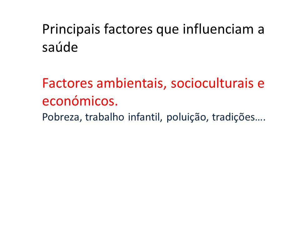 Principais factores que influenciam a saúde Factores ambientais, socioculturais e económicos. Pobreza, trabalho infantil, poluição, tradições….