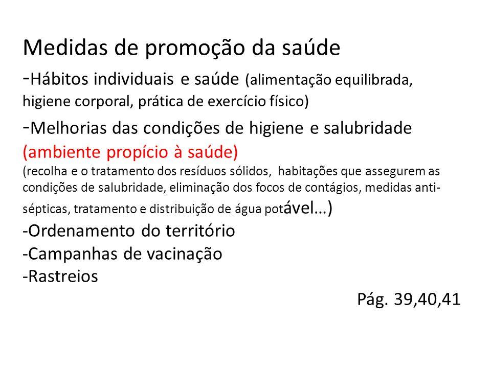 Medidas de promoção da saúde - Hábitos individuais e saúde (alimentação equilibrada, higiene corporal, prática de exercício físico) - Melhorias das co