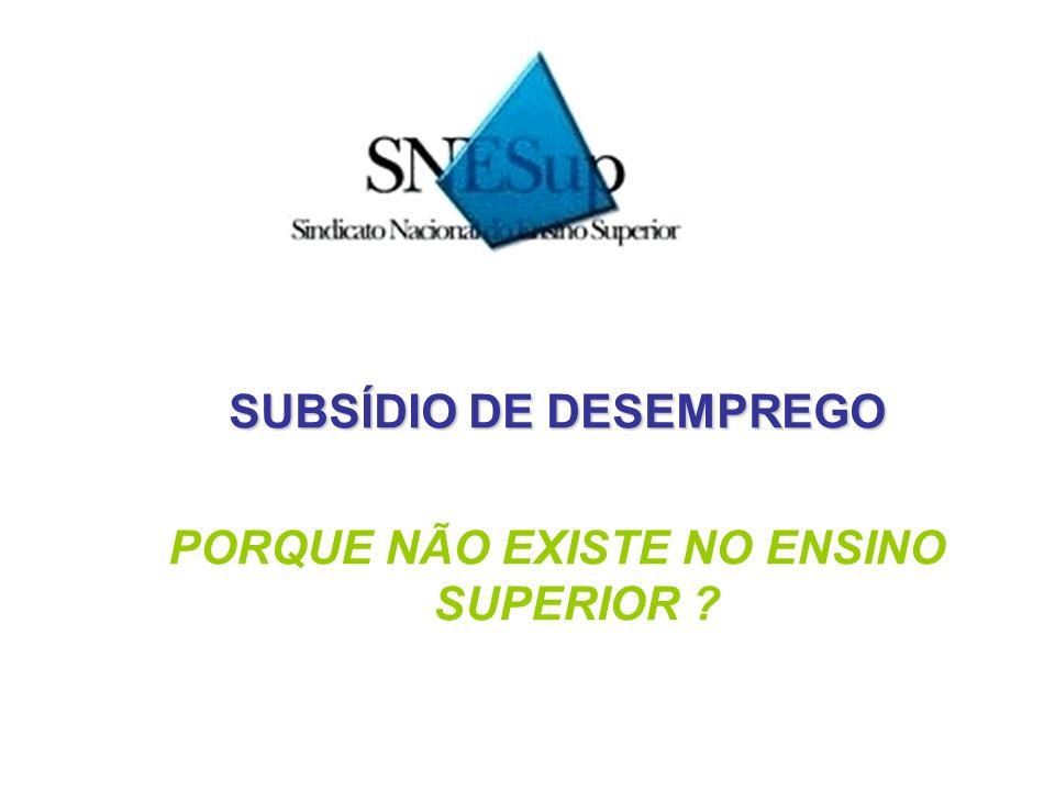 SUBSÍDIO DE DESEMPREGO PORQUE NÃO EXISTE NO ENSINO SUPERIOR ?
