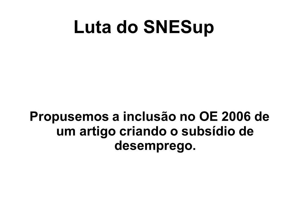 Luta do SNESup Propusemos a inclusão no OE 2006 de um artigo criando o subsídio de desemprego.