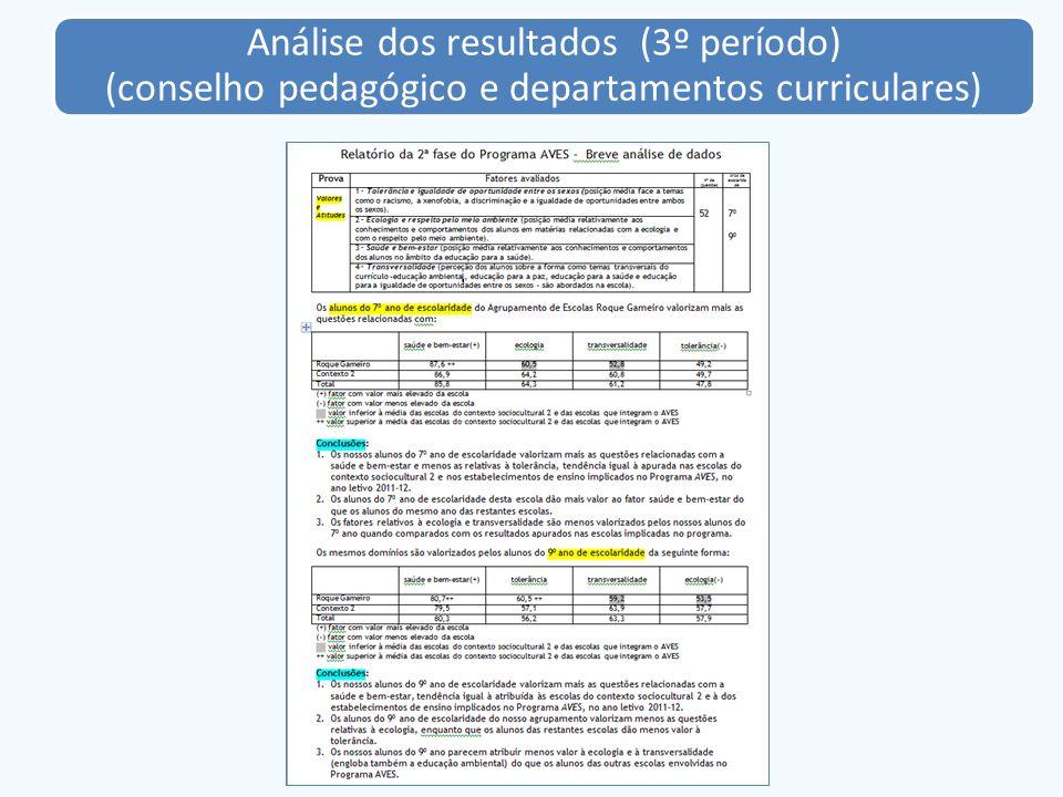Análise dos resultados (3º período) (conselho pedagógico e departamentos curriculares)