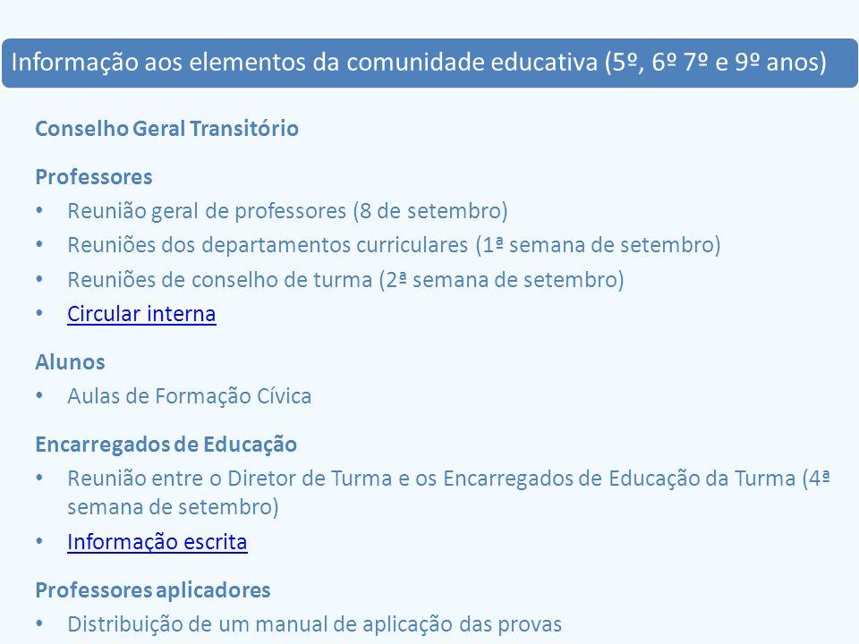 Informação aos elementos da comunidade educativa (5º, 6º 7º e 9º anos) Conselho Geral Transitório Professores Reunião geral de professores (8 de setem