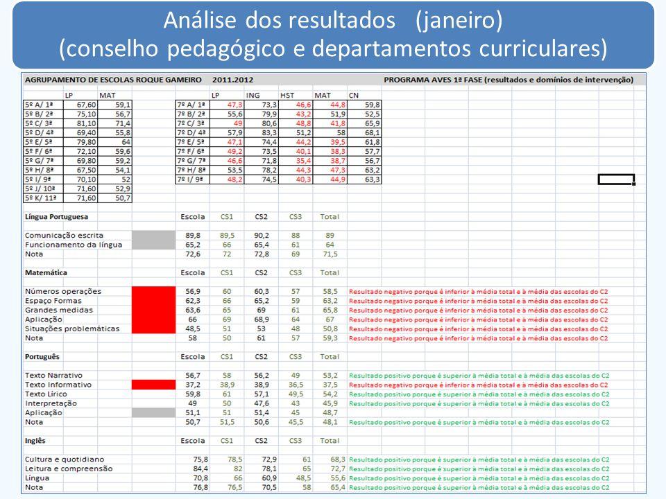 Análise dos resultados (janeiro) (conselho pedagógico e departamentos curriculares)