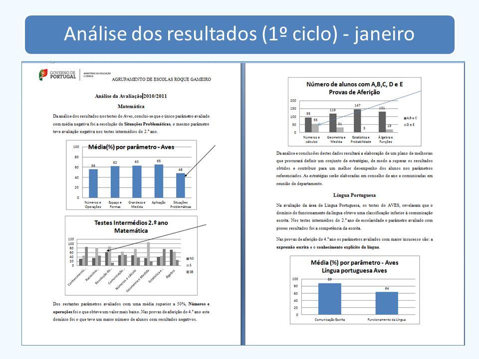 Análise dos resultados (1º ciclo) - janeiro