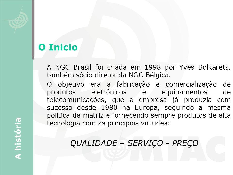 O Inicio A NGC Brasil foi criada em 1998 por Yves Bolkarets, também sócio diretor da NGC Bélgica. O objetivo era a fabricação e comercialização de pro