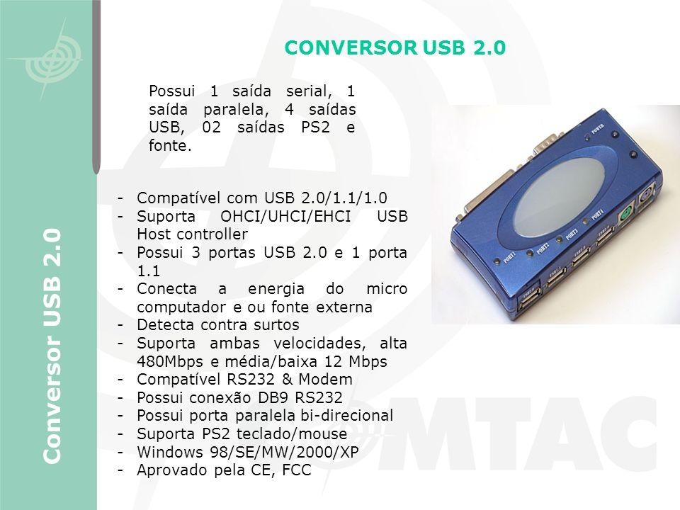 CONVERSOR USB 2.0 Conversor USB 2.0 -Compatível com USB 2.0/1.1/1.0 -Suporta OHCI/UHCI/EHCI USB Host controller -Possui 3 portas USB 2.0 e 1 porta 1.1