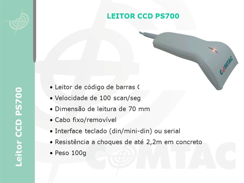 Leitor de código de barras CCD manual Velocidade de 100 scan/seg Dimensão de leitura de 70 mm Cabo fixo/removível Interface teclado (din/mini-din) ou