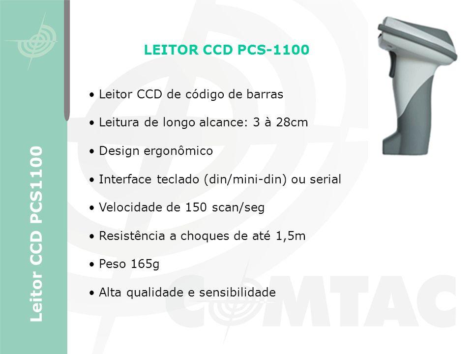 LEITOR CCD PCS-1100 Leitor CCD de código de barras Leitura de longo alcance: 3 à 28cm Design ergonômico Interface teclado (din/mini-din) ou serial Vel