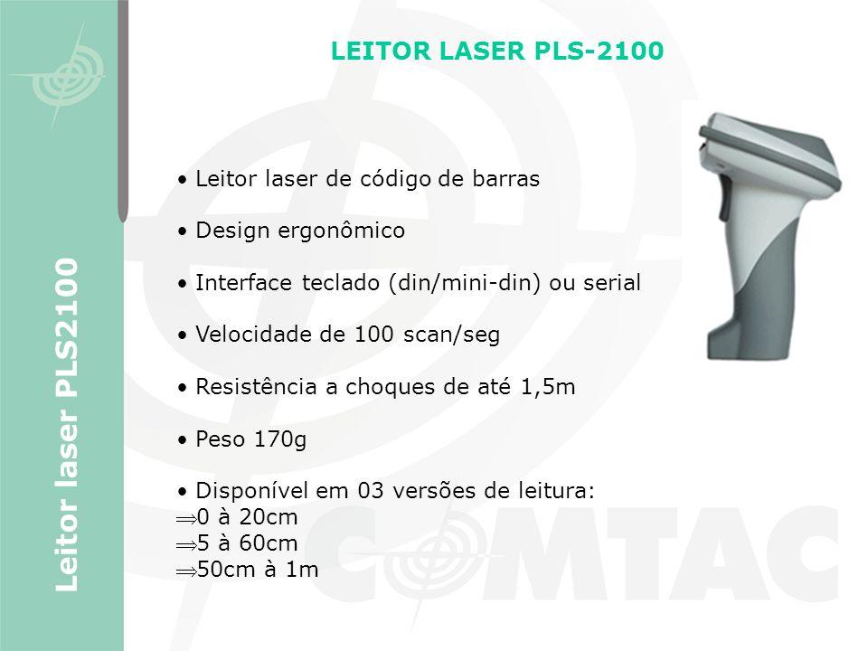 Leitor laser de código de barras Design ergonômico Interface teclado (din/mini-din) ou serial Velocidade de 100 scan/seg Resistência a choques de até