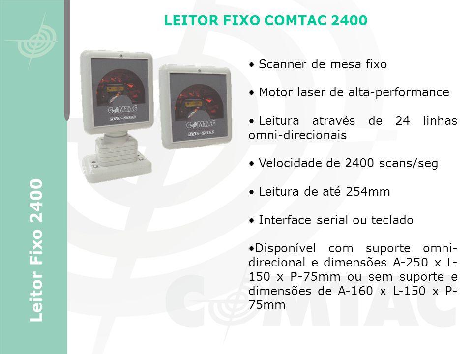 LEITOR FIXO COMTAC 2400 Scanner de mesa fixo Motor laser de alta-performance Leitura através de 24 linhas omni-direcionais Velocidade de 2400 scans/se