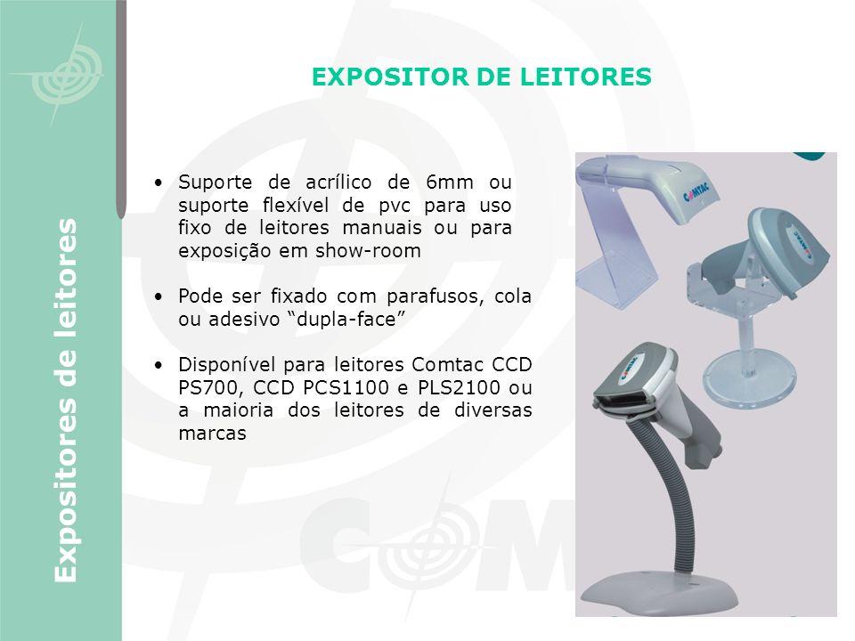 EXPOSITOR DE LEITORES Pode ser fixado com parafusos, cola ou adesivo dupla-face Disponível para leitores Comtac CCD PS700, CCD PCS1100 e PLS2100 ou a