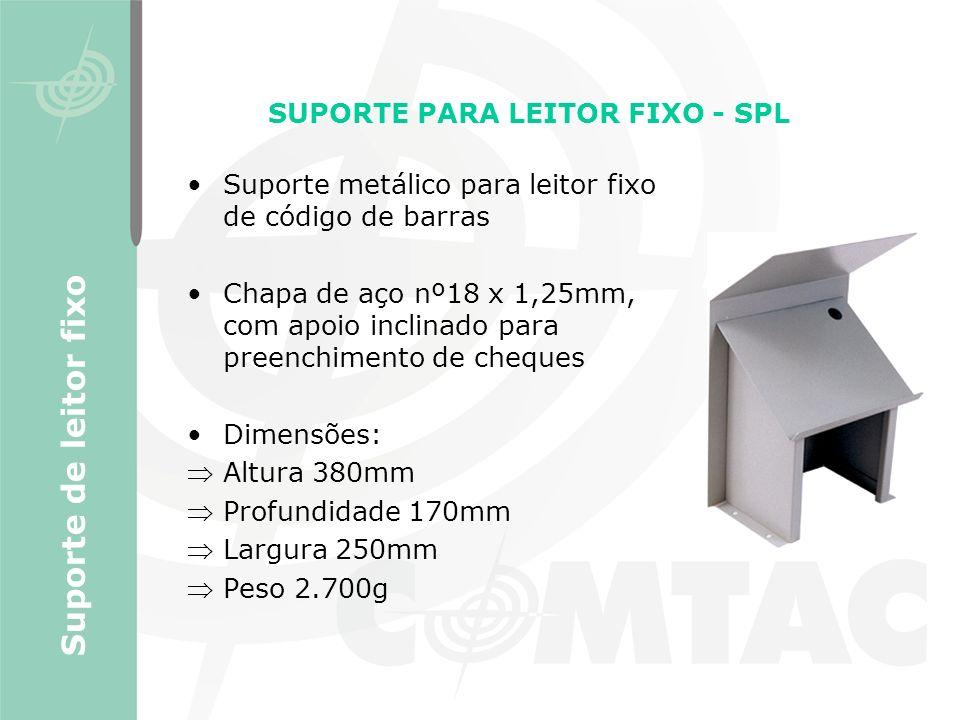 Suporte metálico para leitor fixo de código de barras Chapa de aço nº18 x 1,25mm, com apoio inclinado para preenchimento de cheques Dimensões: Altura