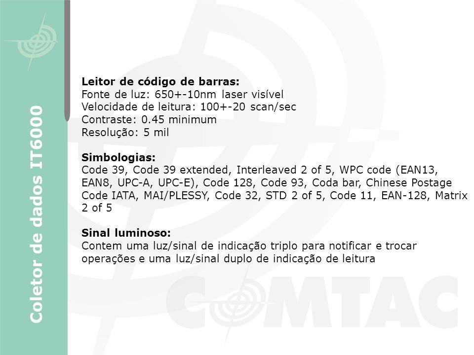 Coletor de dados IT6000 Leitor de código de barras: Fonte de luz: 650+-10nm laser visível Velocidade de leitura: 100+-20 scan/sec Contraste: 0.45 mini