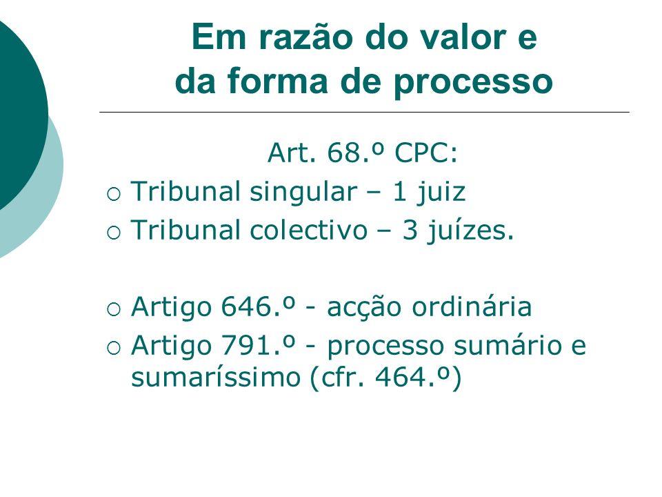Em razão do valor e da forma de processo Art. 68.º CPC: Tribunal singular – 1 juiz Tribunal colectivo – 3 juízes. Artigo 646.º - acção ordinária Artig