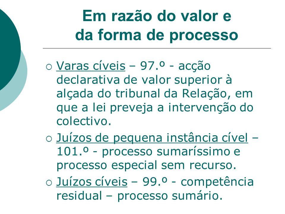 Em razão do valor e da forma de processo Varas cíveis – 97.º - acção declarativa de valor superior à alçada do tribunal da Relação, em que a lei preve