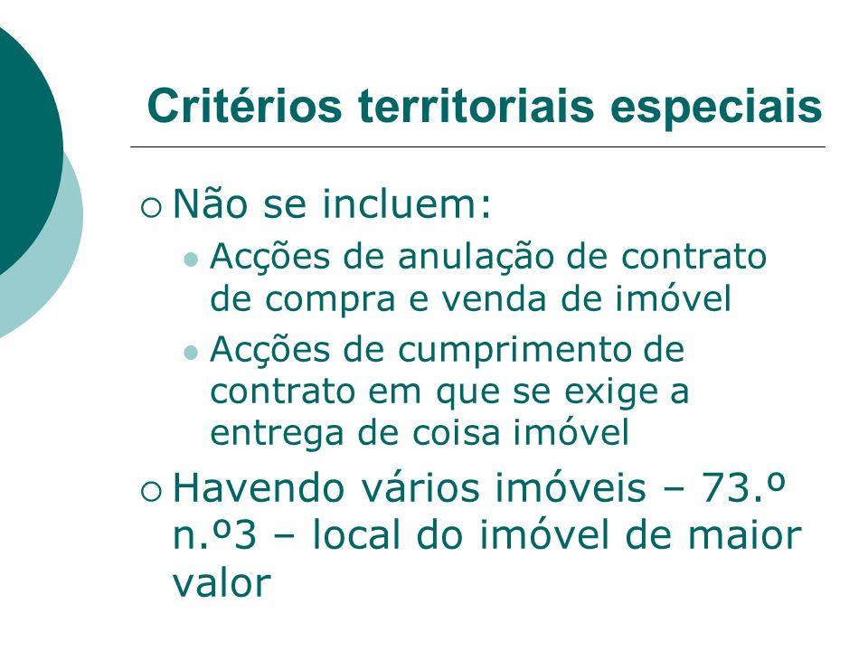 Critérios territoriais especiais Não se incluem: Acções de anulação de contrato de compra e venda de imóvel Acções de cumprimento de contrato em que s