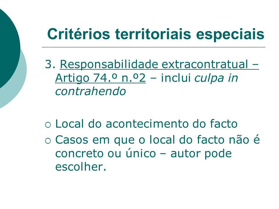 3. Responsabilidade extracontratual – Artigo 74.º n.º2 – inclui culpa in contrahendo Local do acontecimento do facto Casos em que o local do facto não