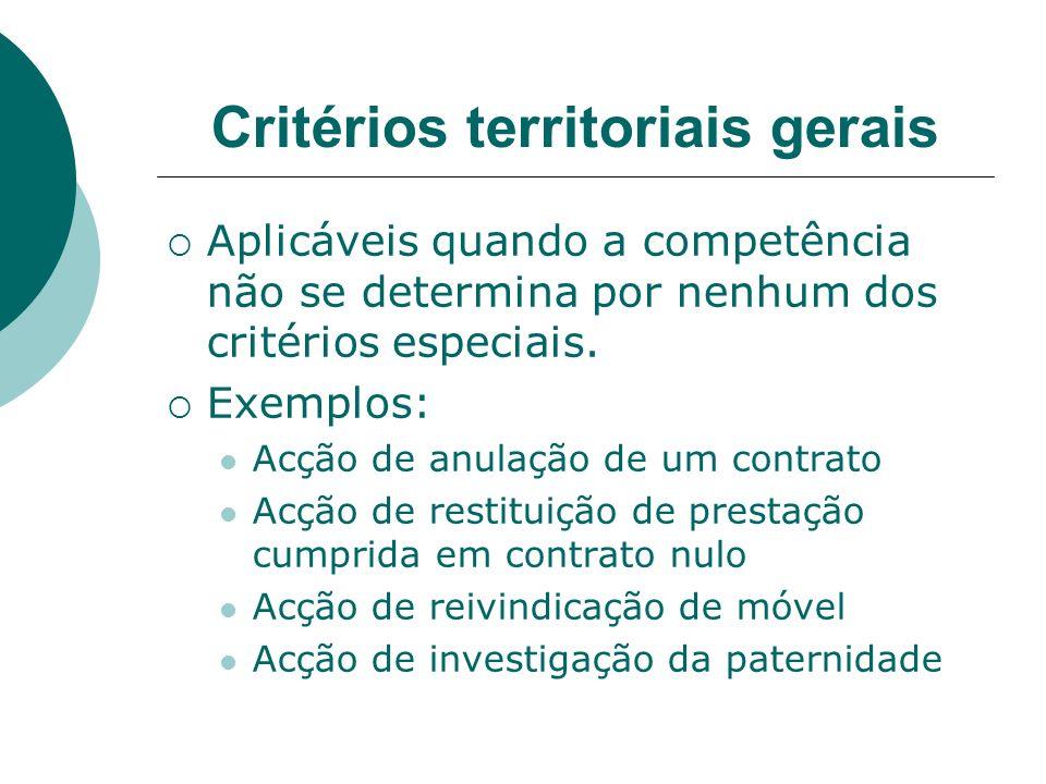 Critérios territoriais gerais Aplicáveis quando a competência não se determina por nenhum dos critérios especiais. Exemplos: Acção de anulação de um c