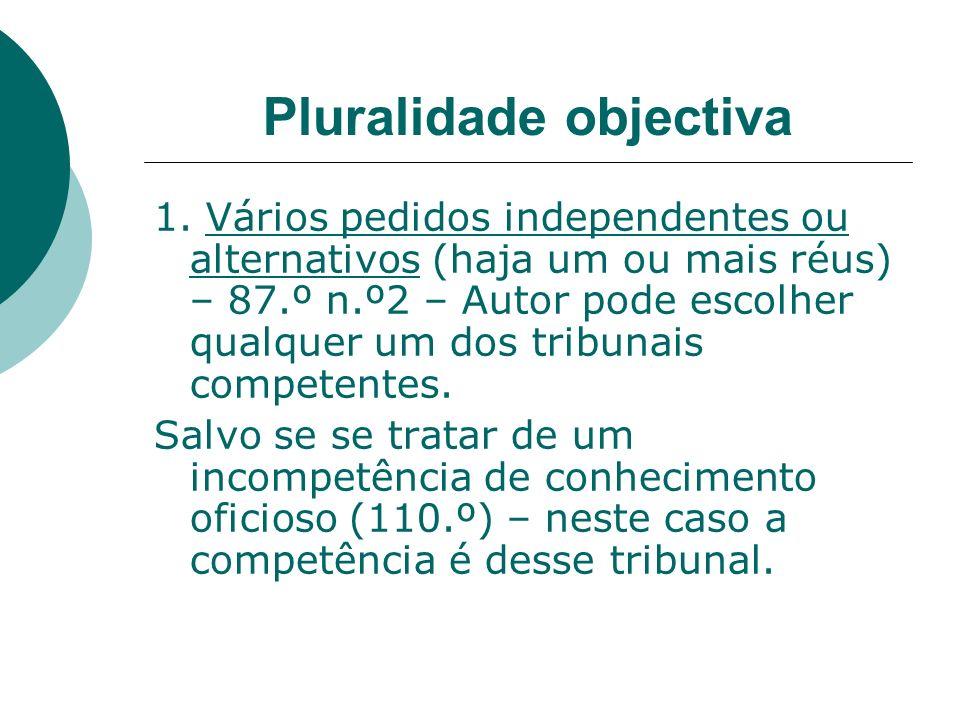 Pluralidade objectiva 1. Vários pedidos independentes ou alternativos (haja um ou mais réus) – 87.º n.º2 – Autor pode escolher qualquer um dos tribuna