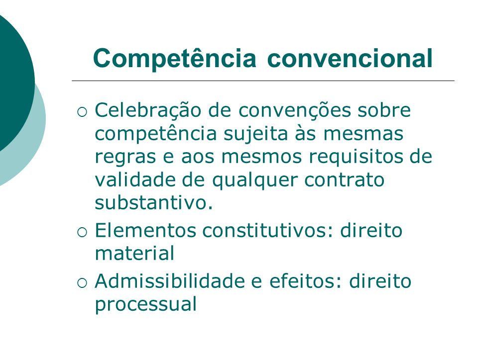 Competência convencional Celebração de convenções sobre competência sujeita às mesmas regras e aos mesmos requisitos de validade de qualquer contrato
