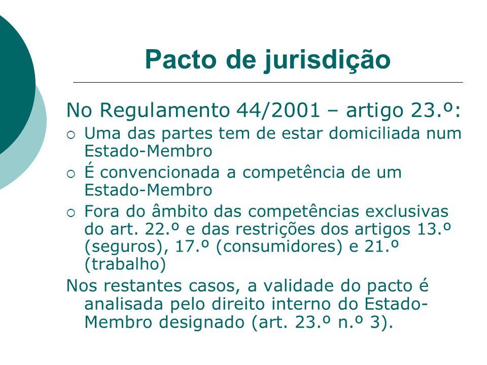 Pacto de jurisdição No Regulamento 44/2001 – artigo 23.º: Uma das partes tem de estar domiciliada num Estado-Membro É convencionada a competência de u