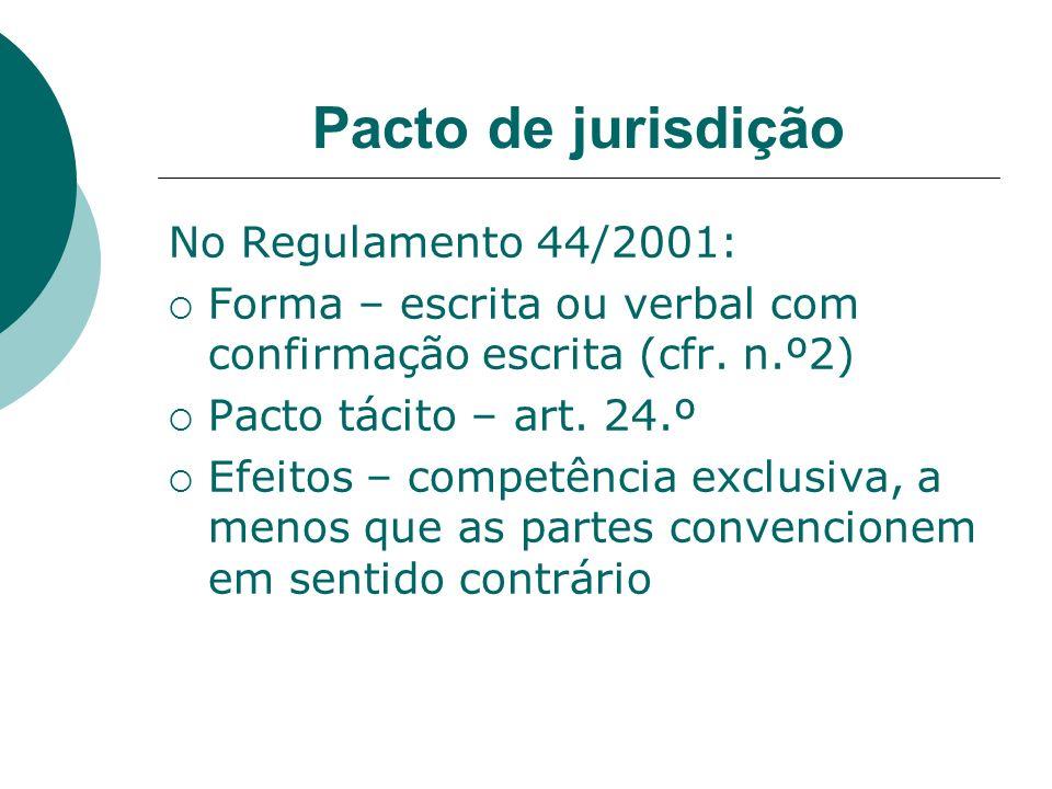 Pacto de jurisdição No Regulamento 44/2001: Forma – escrita ou verbal com confirmação escrita (cfr. n.º2) Pacto tácito – art. 24.º Efeitos – competênc