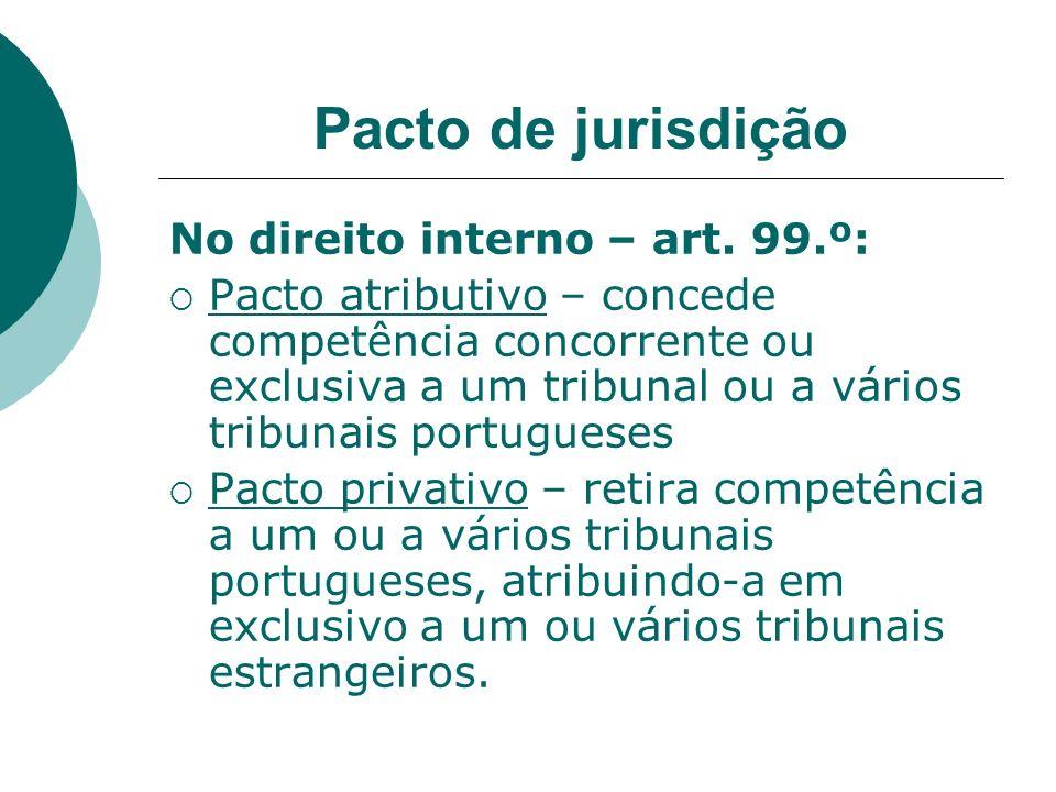 Pacto de jurisdição No direito interno – art. 99.º: Pacto atributivo – concede competência concorrente ou exclusiva a um tribunal ou a vários tribunai