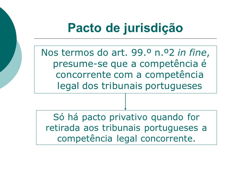 Pacto de jurisdição Nos termos do art. 99.º n.º2 in fine, presume-se que a competência é concorrente com a competência legal dos tribunais portugueses