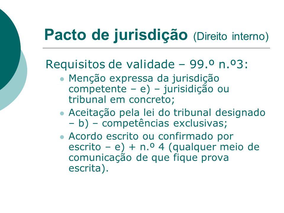 Requisitos de validade – 99.º n.º3: Menção expressa da jurisdição competente – e) – jurisidição ou tribunal em concreto; Aceitação pela lei do tribuna