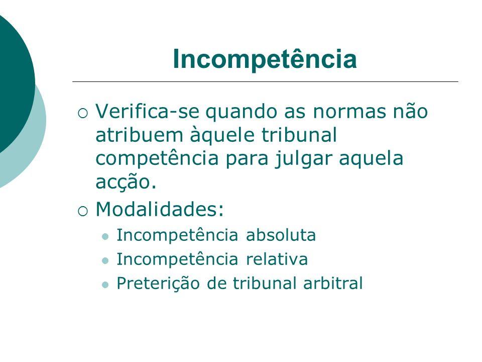 Incompetência Verifica-se quando as normas não atribuem àquele tribunal competência para julgar aquela acção. Modalidades: Incompetência absoluta Inco