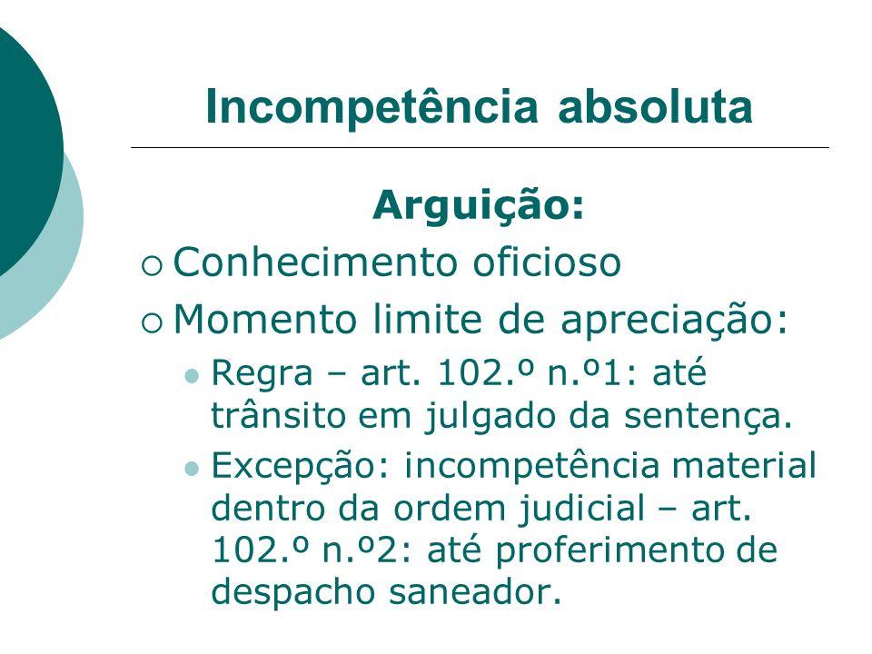 Incompetência absoluta Arguição: Conhecimento oficioso Momento limite de apreciação: Regra – art. 102.º n.º1: até trânsito em julgado da sentença. Exc
