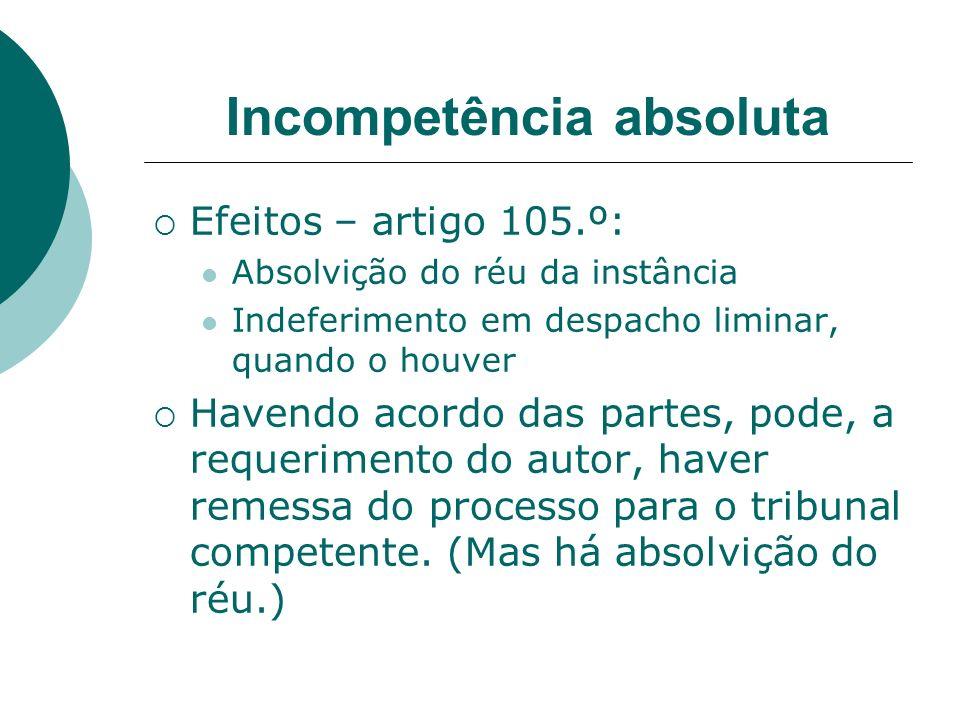 Incompetência absoluta Efeitos – artigo 105.º: Absolvição do réu da instância Indeferimento em despacho liminar, quando o houver Havendo acordo das pa