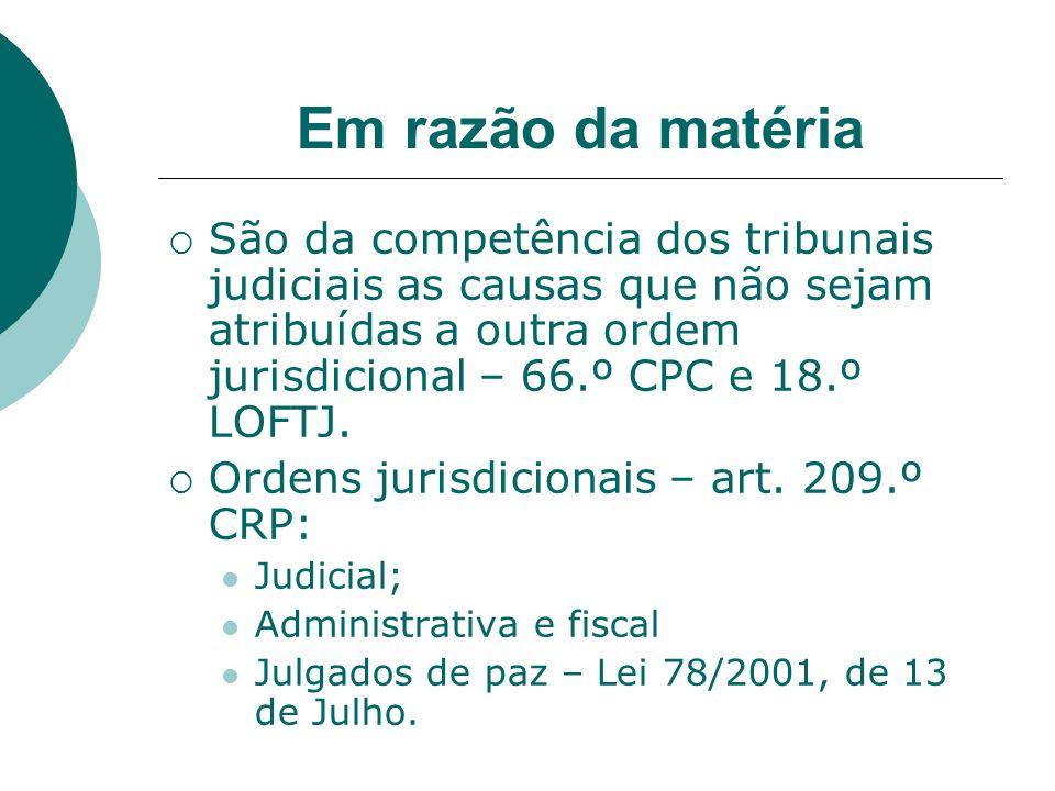 Em razão da matéria São da competência dos tribunais judiciais as causas que não sejam atribuídas a outra ordem jurisdicional – 66.º CPC e 18.º LOFTJ.