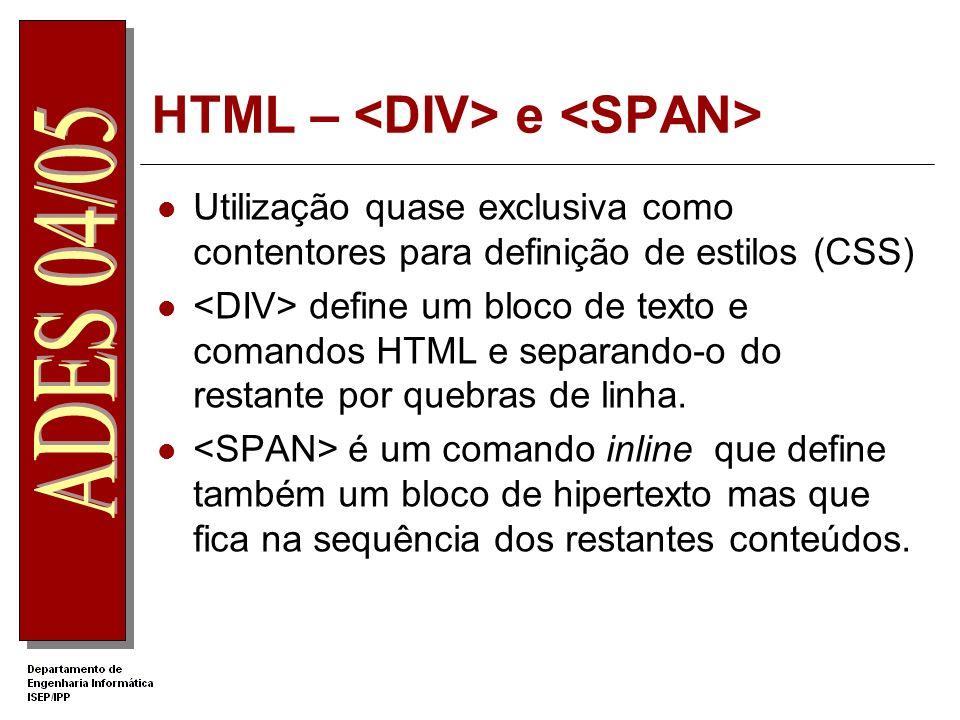 HTML – e Utilização quase exclusiva como contentores para definição de estilos (CSS) define um bloco de texto e comandos HTML e separando-o do restant