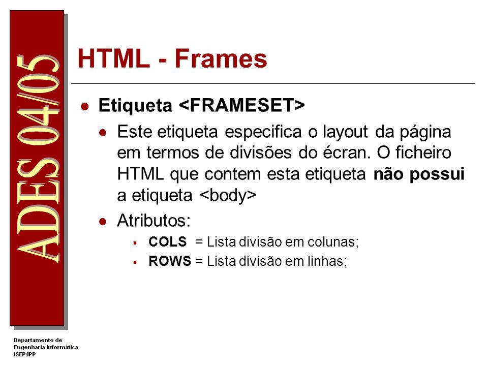 HTML - Frames Etiqueta Este etiqueta especifica o layout da página em termos de divisões do écran. O ficheiro HTML que contem esta etiqueta não possui