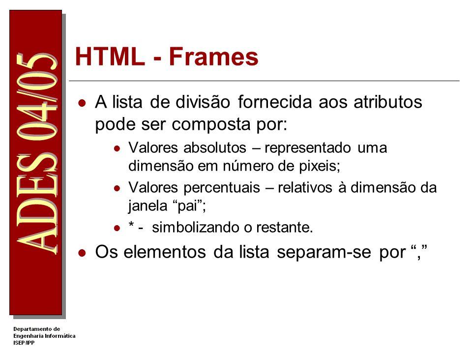 HTML - Frames A lista de divisão fornecida aos atributos pode ser composta por: Valores absolutos – representado uma dimensão em número de pixeis; Val