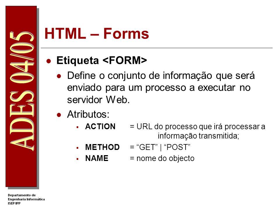 HTML – Forms Etiqueta Define o conjunto de informação que será enviado para um processo a executar no servidor Web. Atributos: ACTION= URL do processo